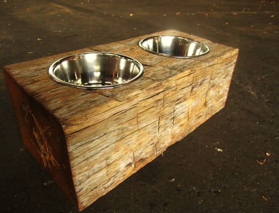 Reclaimed Pet Feeder | Rustic Wood Hub | Bozeman, Belgrade, MT