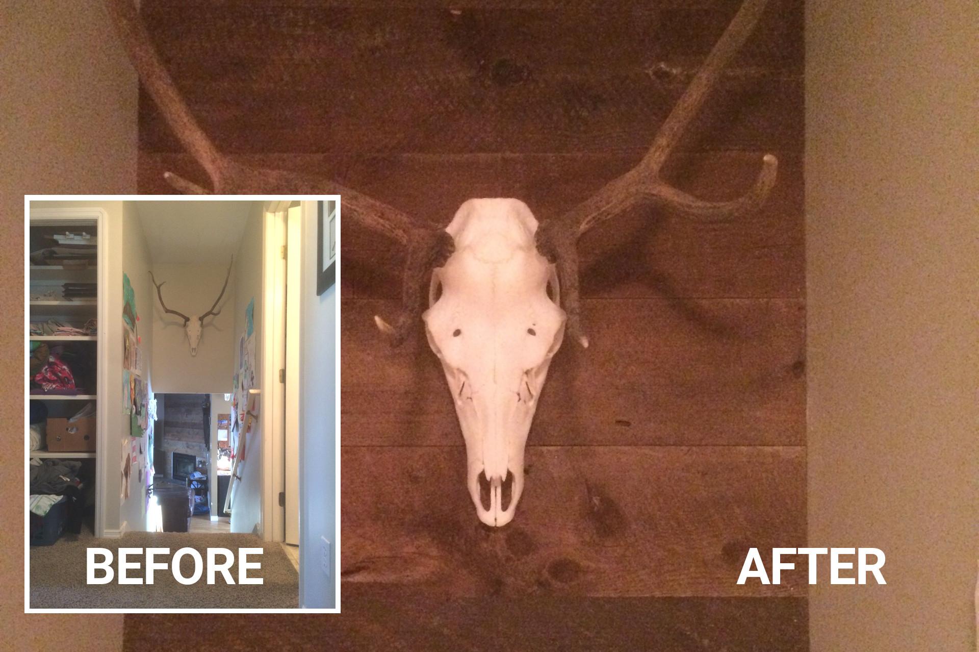 Nook Above Stairs w/ Reclaimed Wood | Rustic Wood Hub | Bozeman, MT